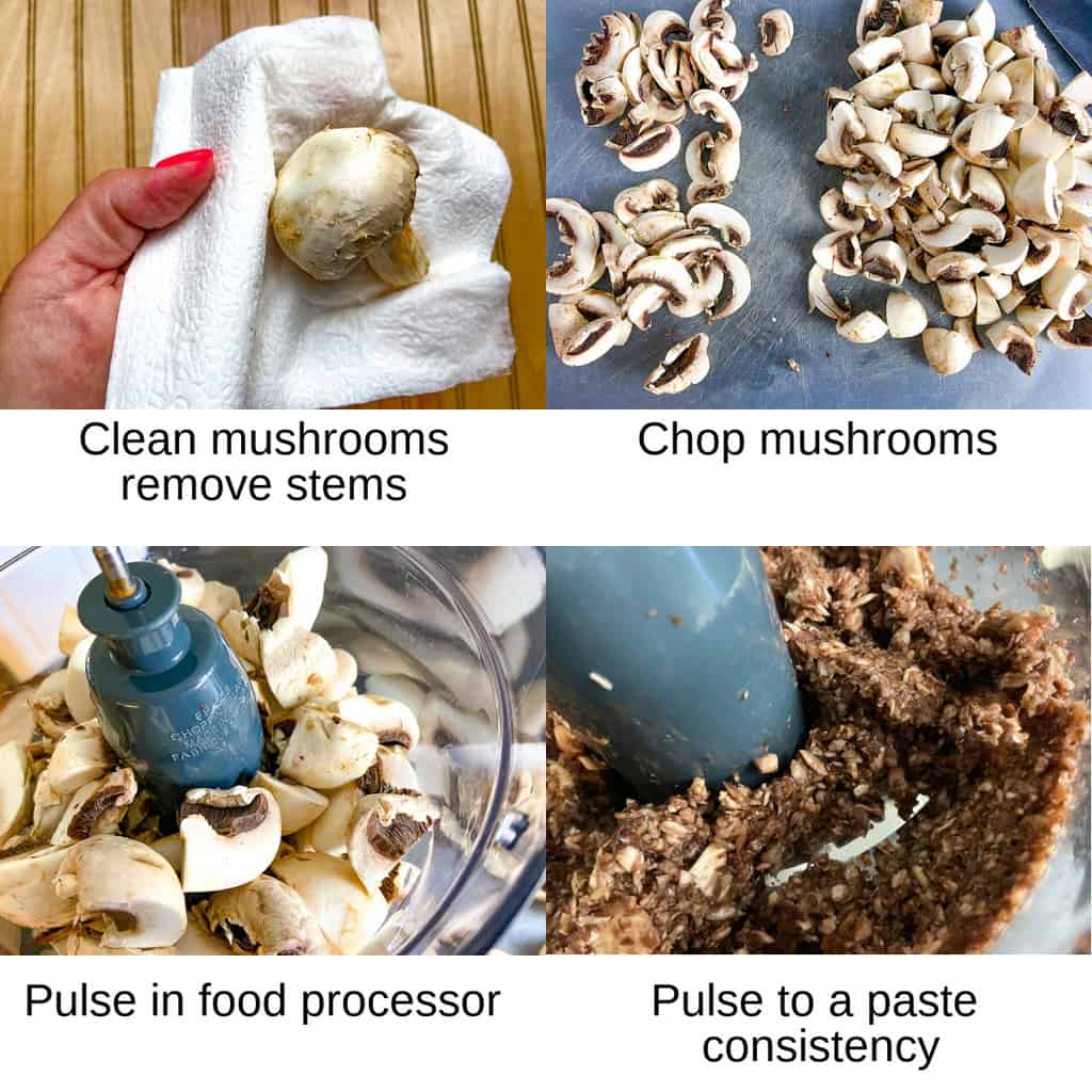 Steps showing how to clean and process mushrooms
