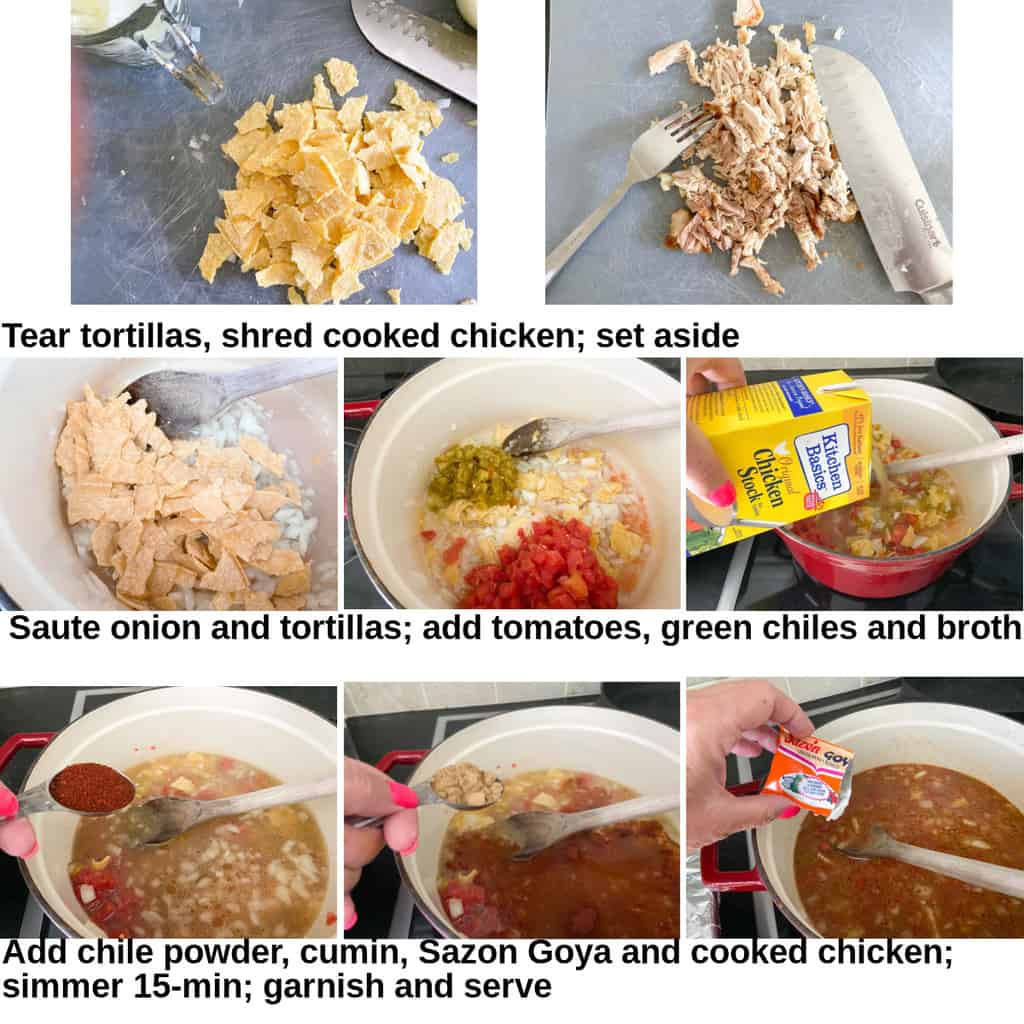 Step by step instructions for making tortilla soup