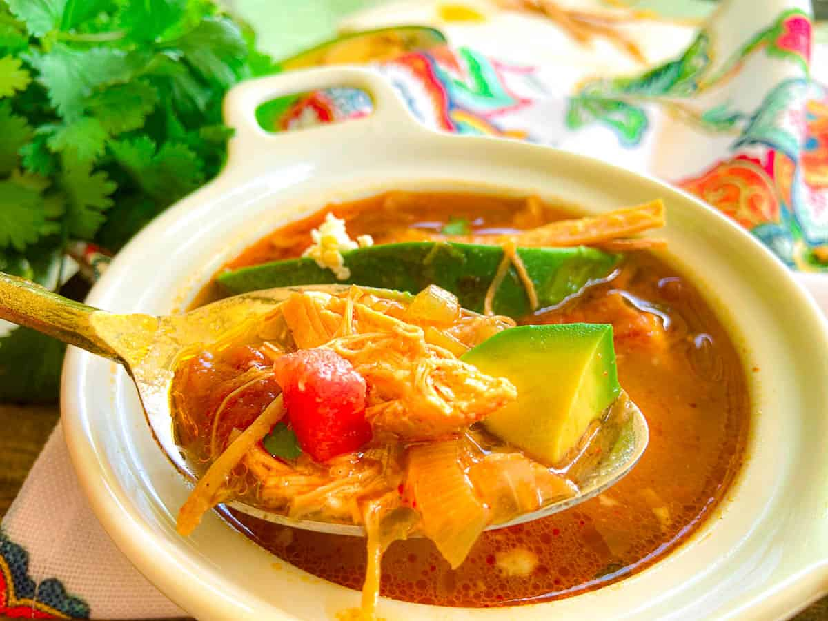 Tortilla soup on a spoon over bowl of soup