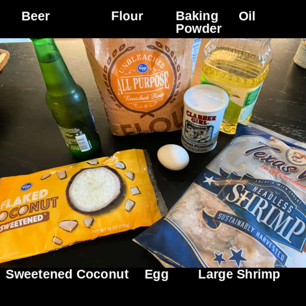 Batter ingredients on counter with labels.