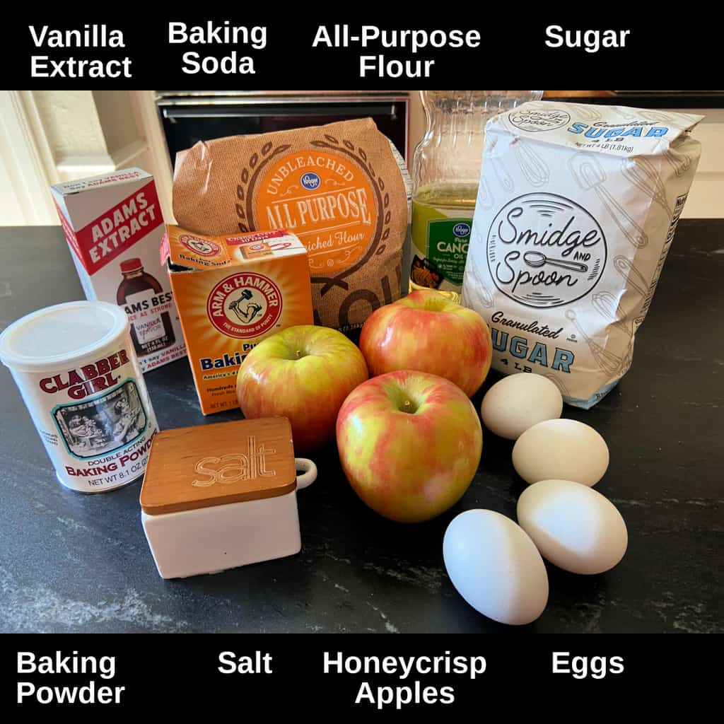 Fresh Apple Cake ingredients labeled on counter