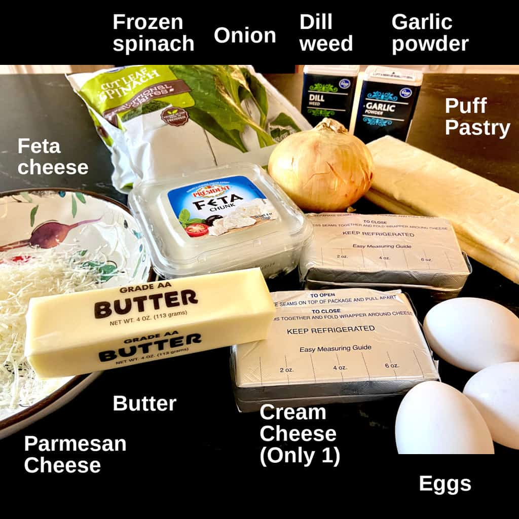 Ingredients labeled on counter top