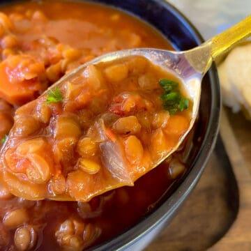 A spoonful of lentil soup above a bowl of soup