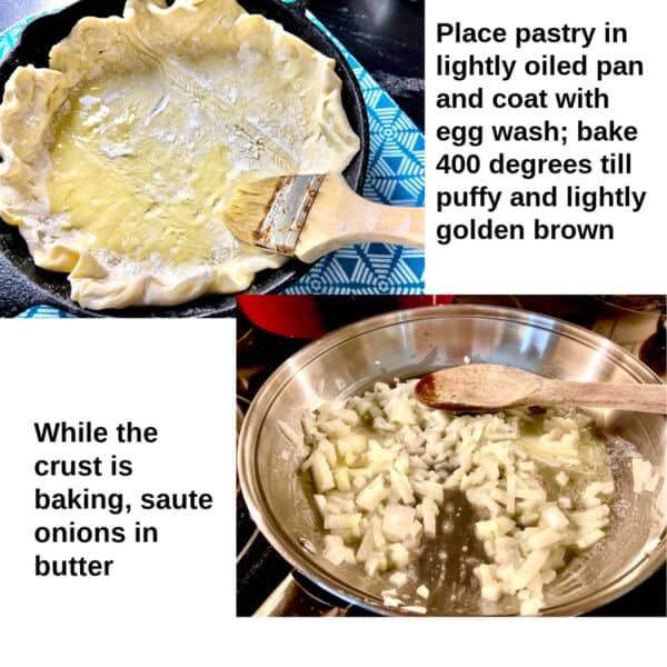 Collage images of puff pastry in pan and onions sauteing