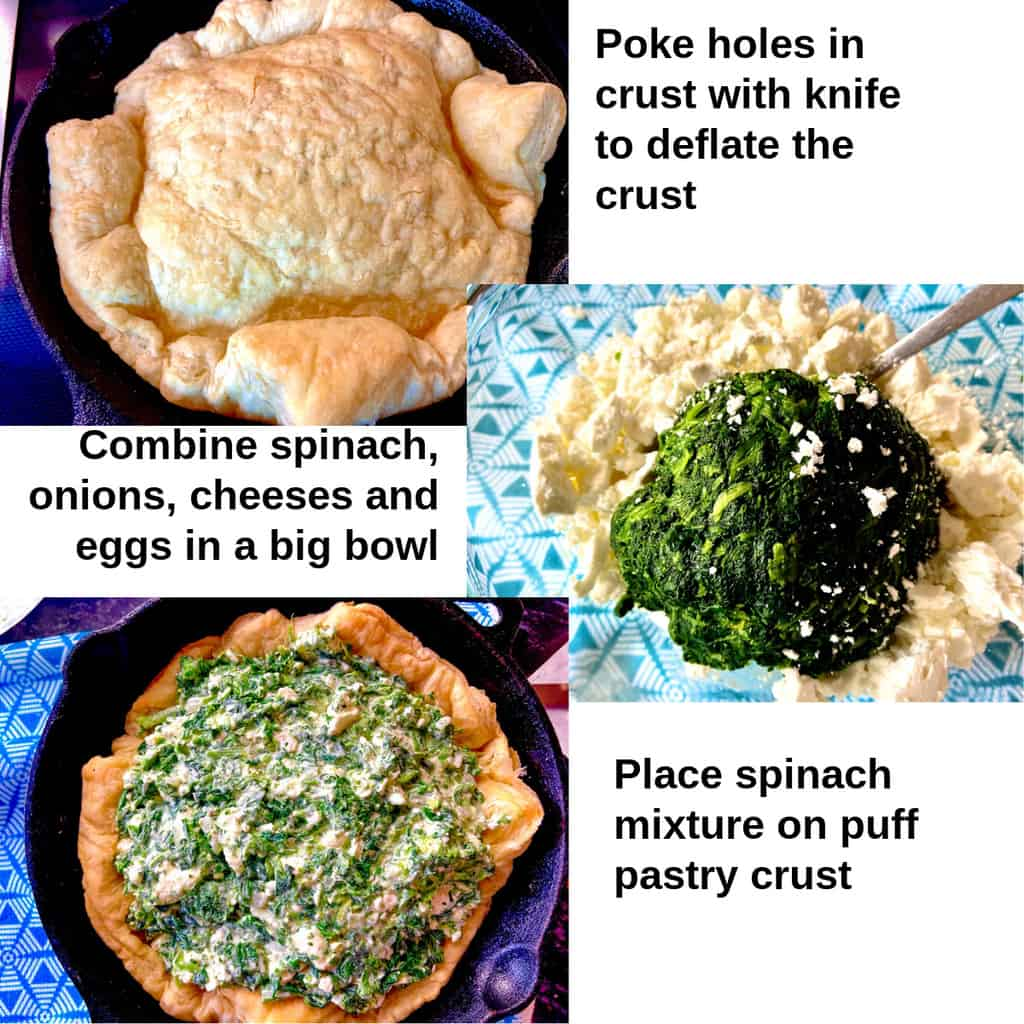 Collage showing how to make the spinach mixture