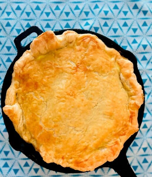 Spinach Feta Pie in Puff Pastry in cast iron skillet
