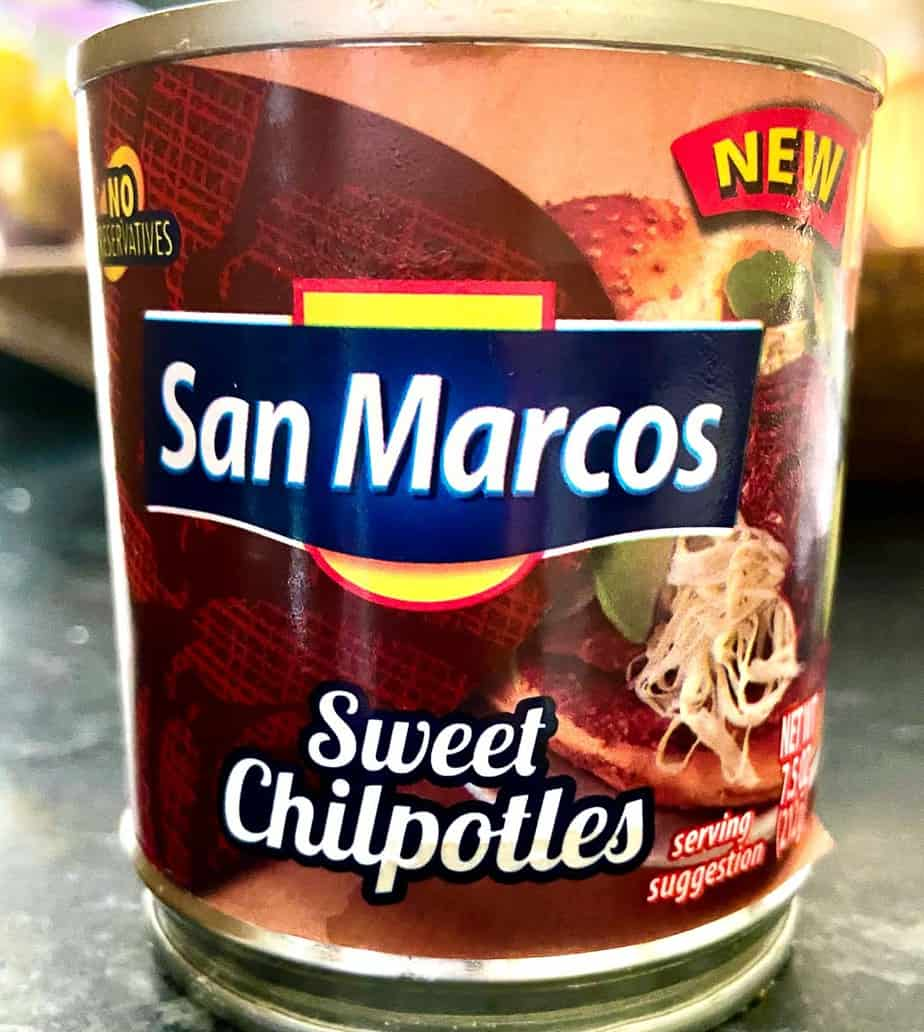 Can of San Marcos Sweet Chipotles on counter