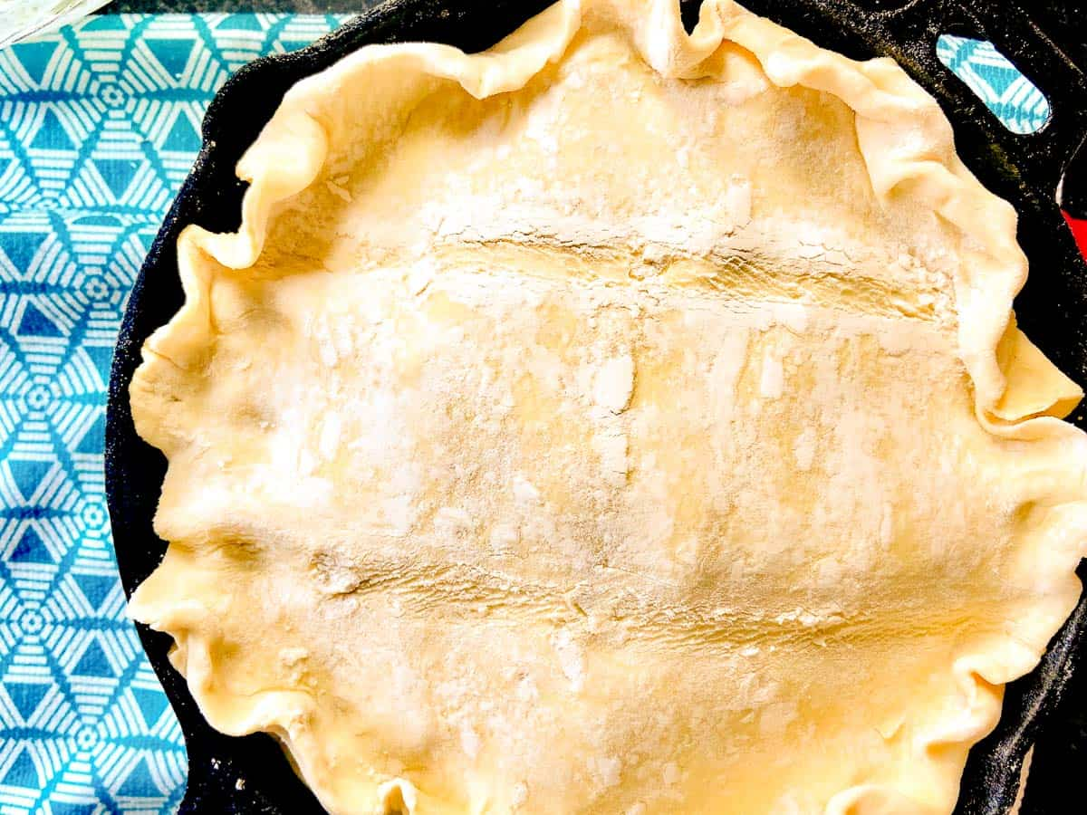 Puff Pastry top crust over spinach feta mixture
