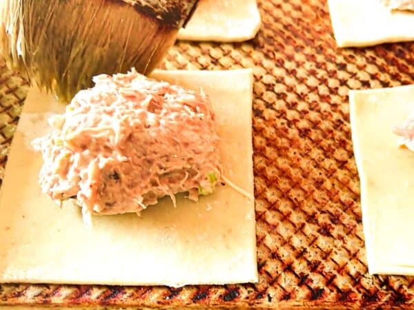 Close up image of crab meat on pastry