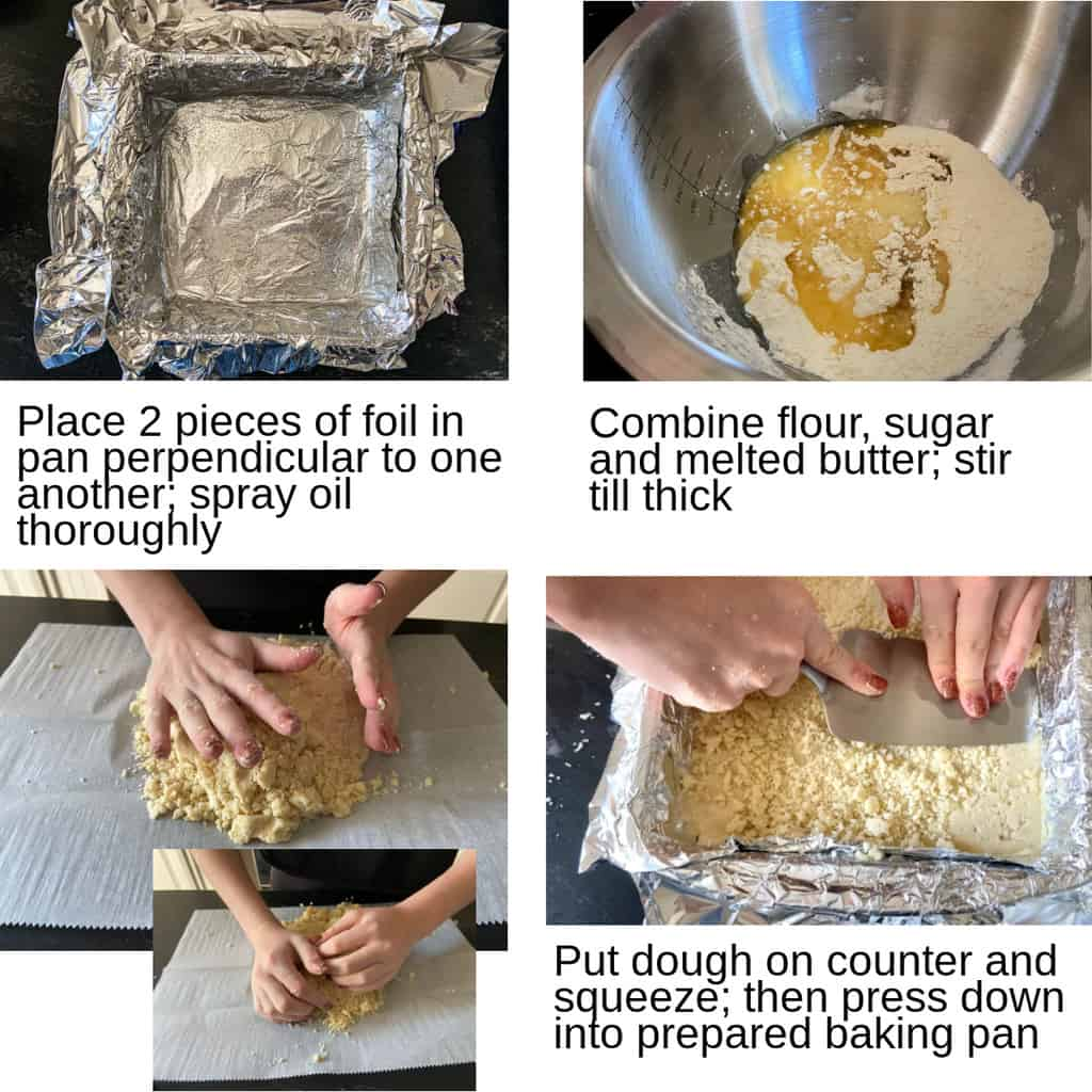 Steps showing how to make the crust