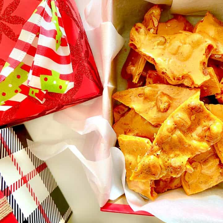 Peanut Brittle in a Christmas box