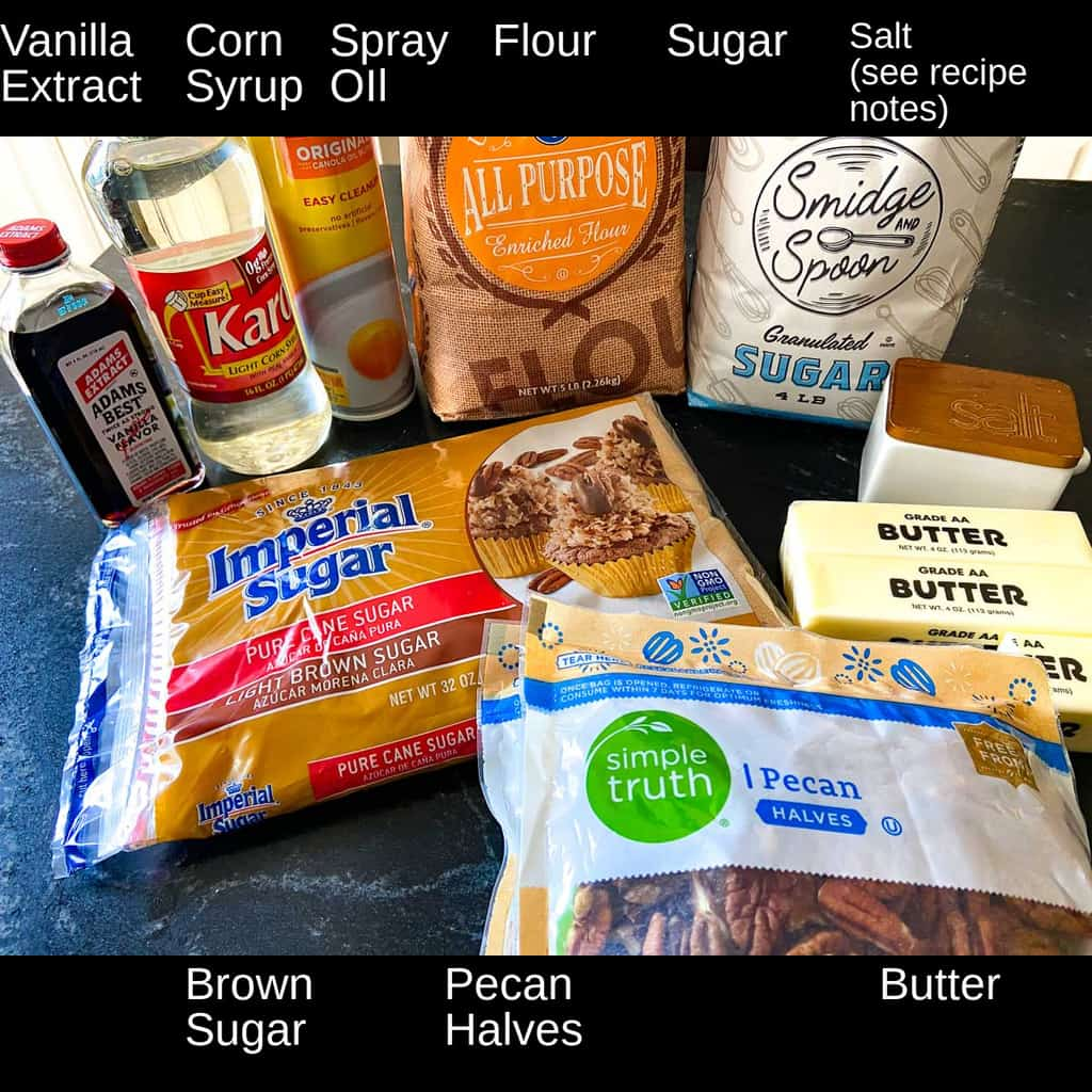 Ingredients labeled on countertop