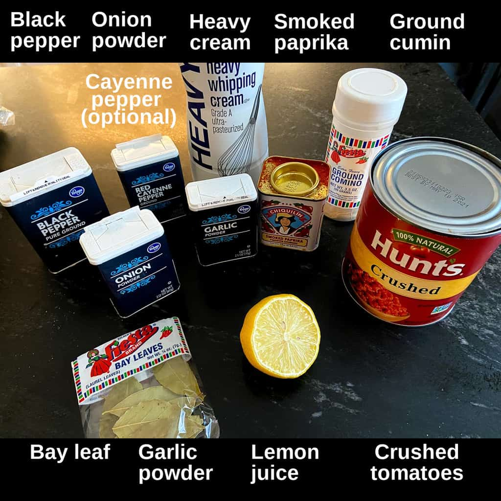 Ingredients labeled on countertop.