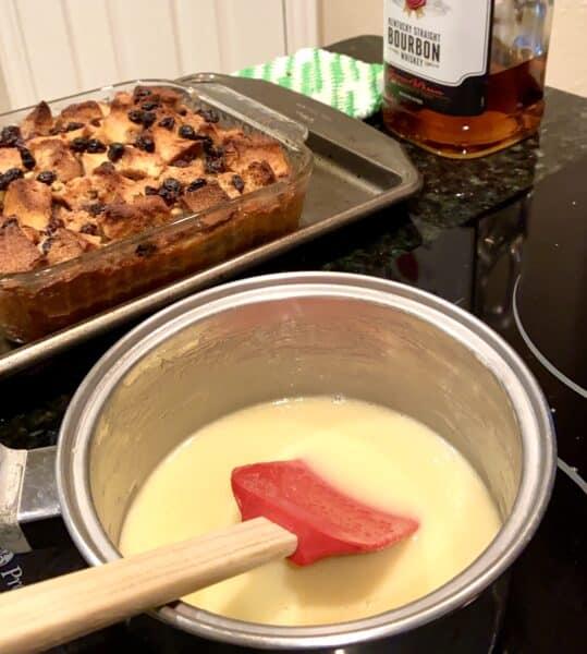 Whiskey sauce in pan