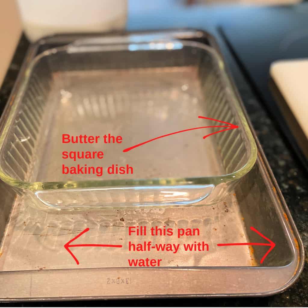 Square glass baking dish in large metal pan