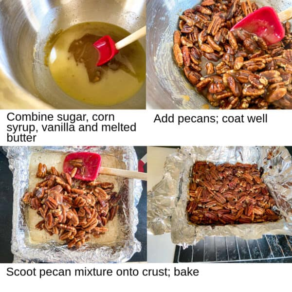 Steps showing how to make the pecan bar topping