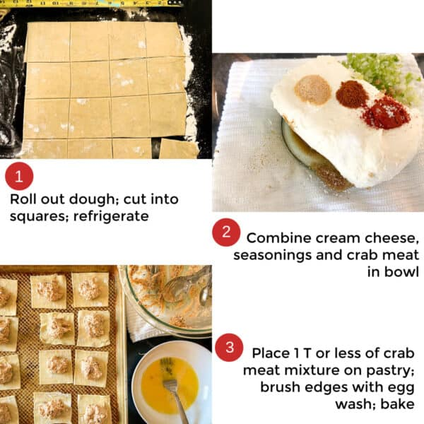 Collage of three steps showing how to make crab puffs