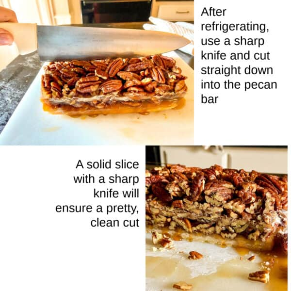 Steps showing how to slice pecan bars