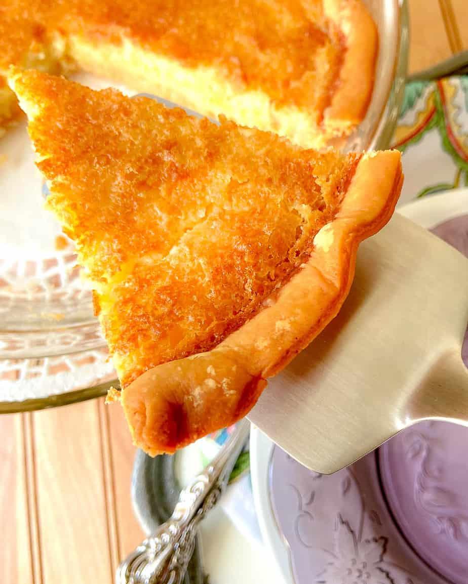 Buttermilk pie on pie server