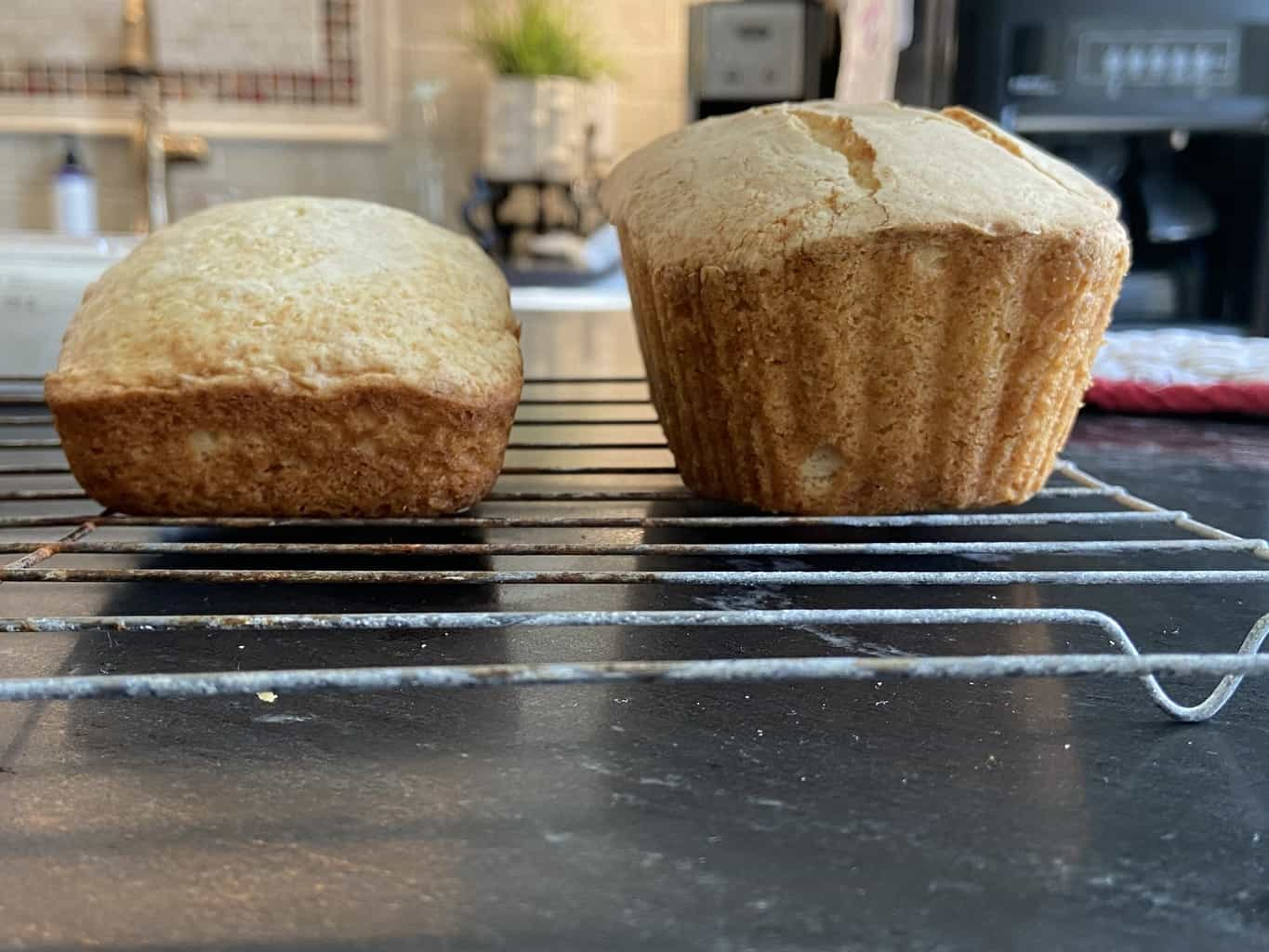 Two cake loaves side by side