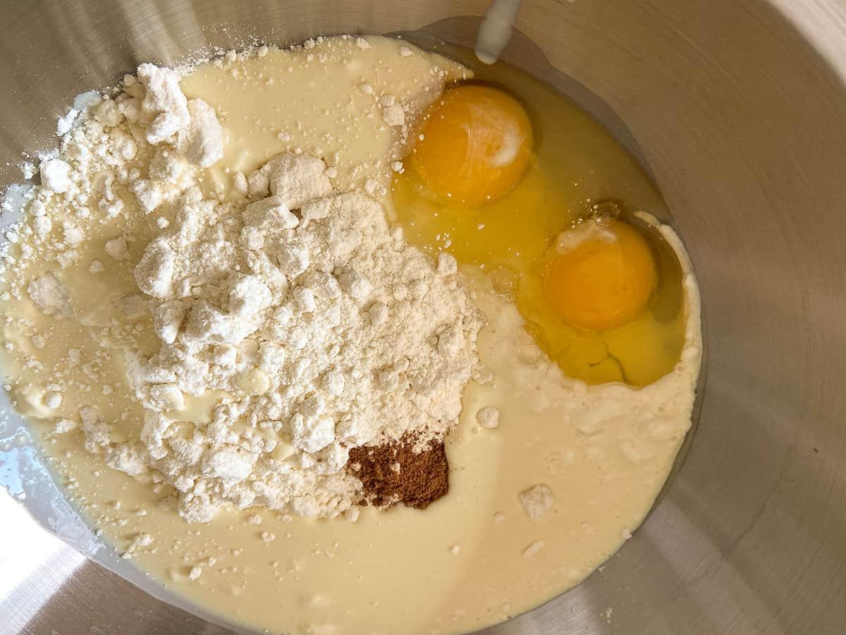 Batter ingredients in bowl