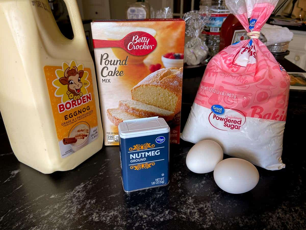 Eggnog pound cake ingredients on counter