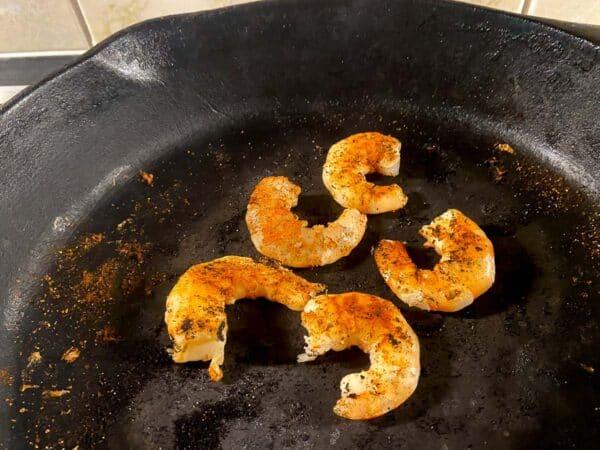 Blackened shrimp in cast iron skillet