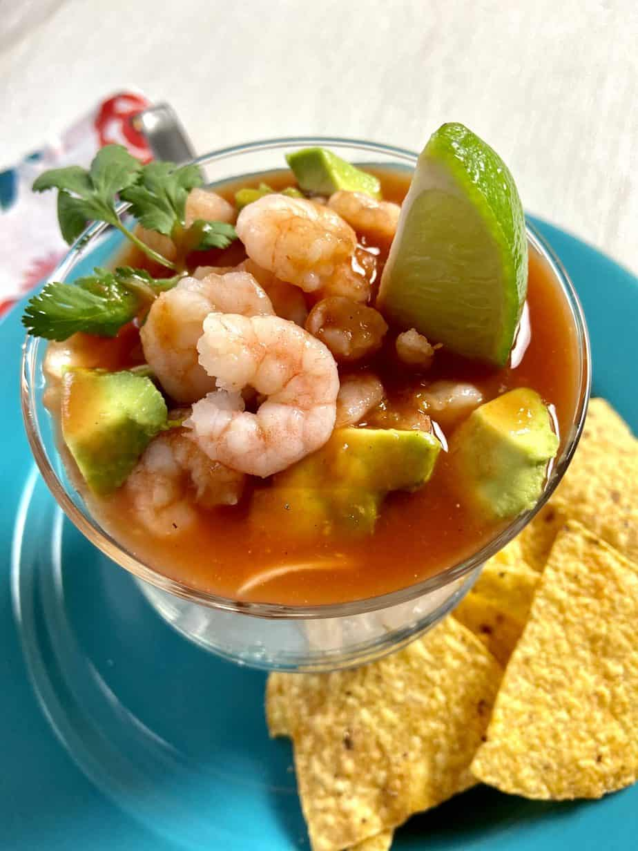 Mexican Shrimp Cocktail with a side of tortilla chips