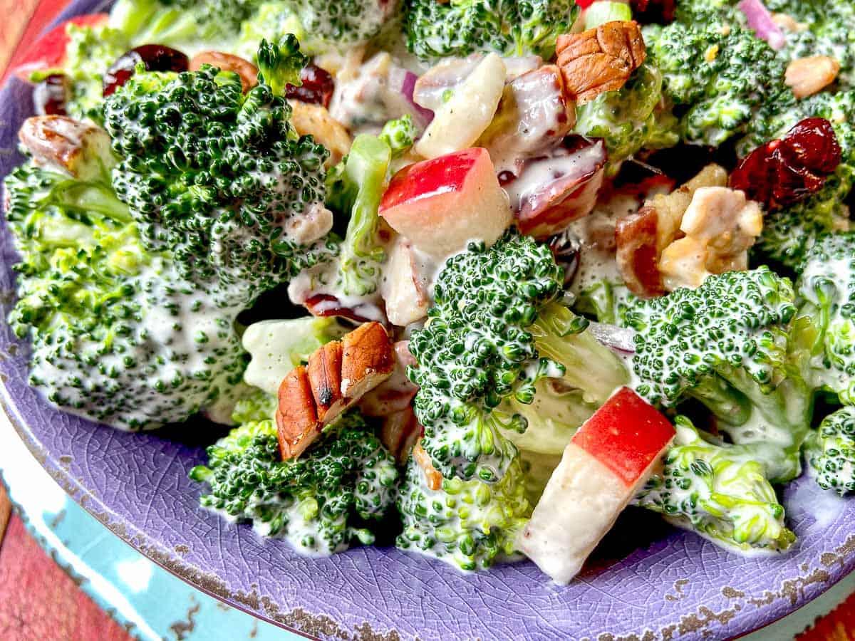 Close up of broccoli salad