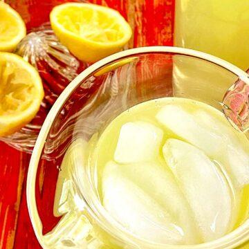Lemonade in pitcher.