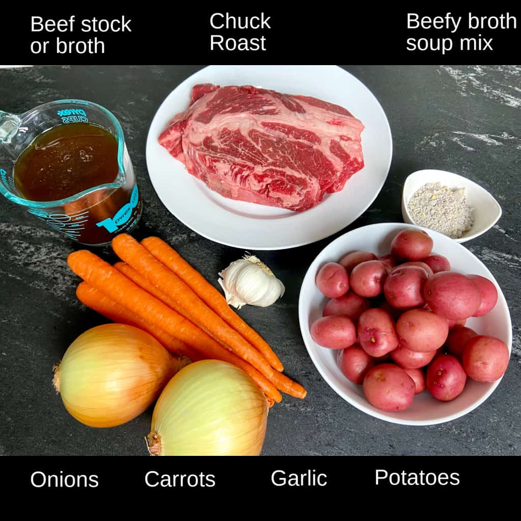 Labeled ingredients for pot roast.