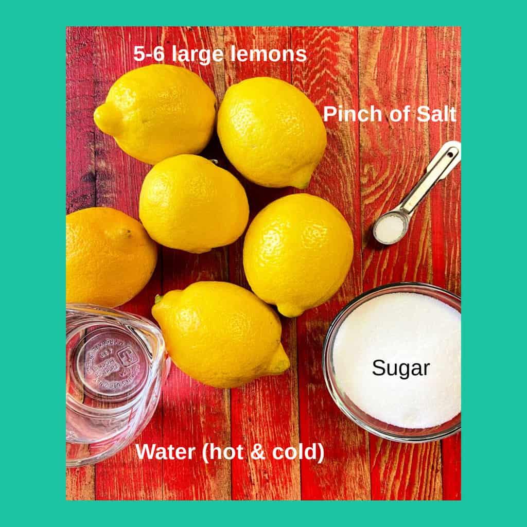 Lemonade ingredients labeled.