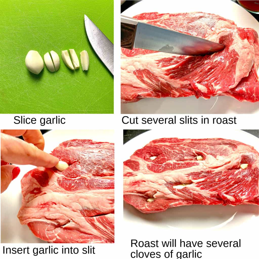 Four steps to plugging the pot roast with garlic slices.