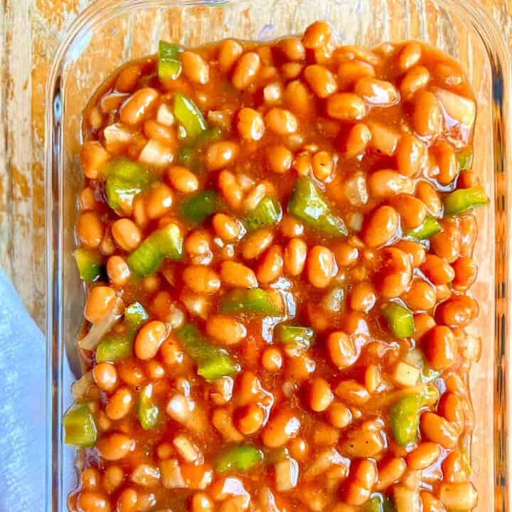 Beans in a baking dish.