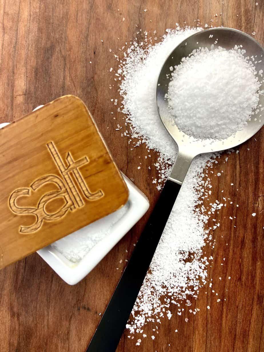 Salt on a spoon.