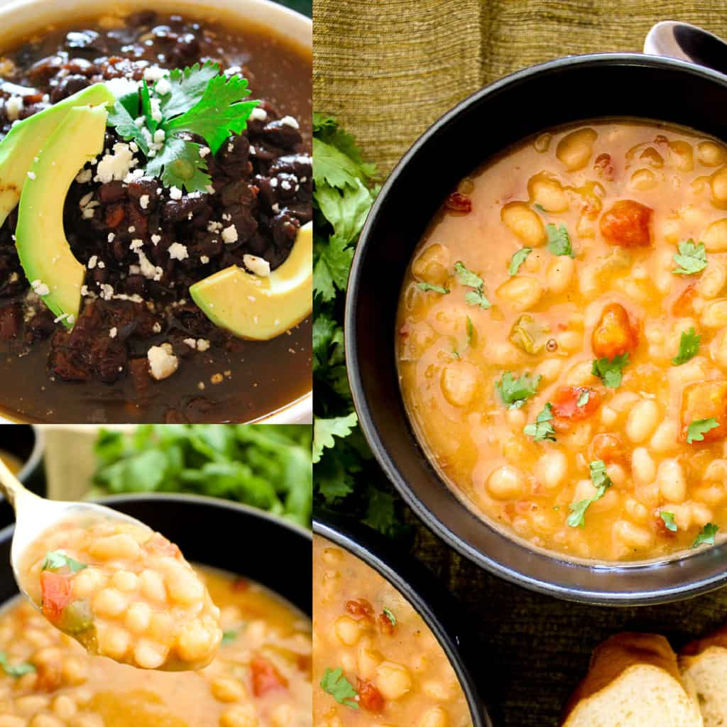 Three images of bean soups.