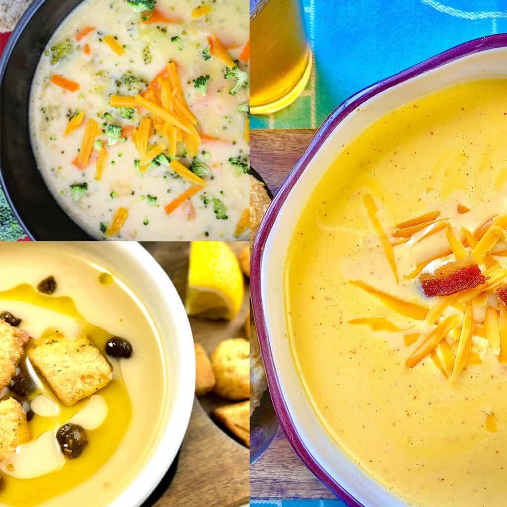 Three creamy soups.