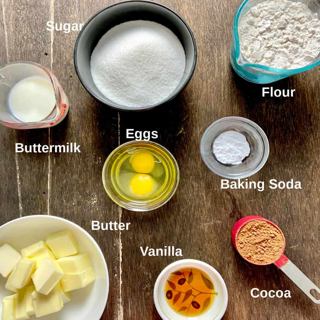 Ingredients labeled on counter.
