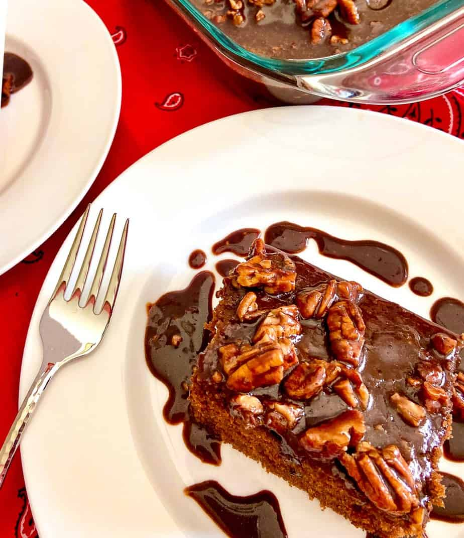 Slice of cake on white plate drizzled with chocolate pecan icing.