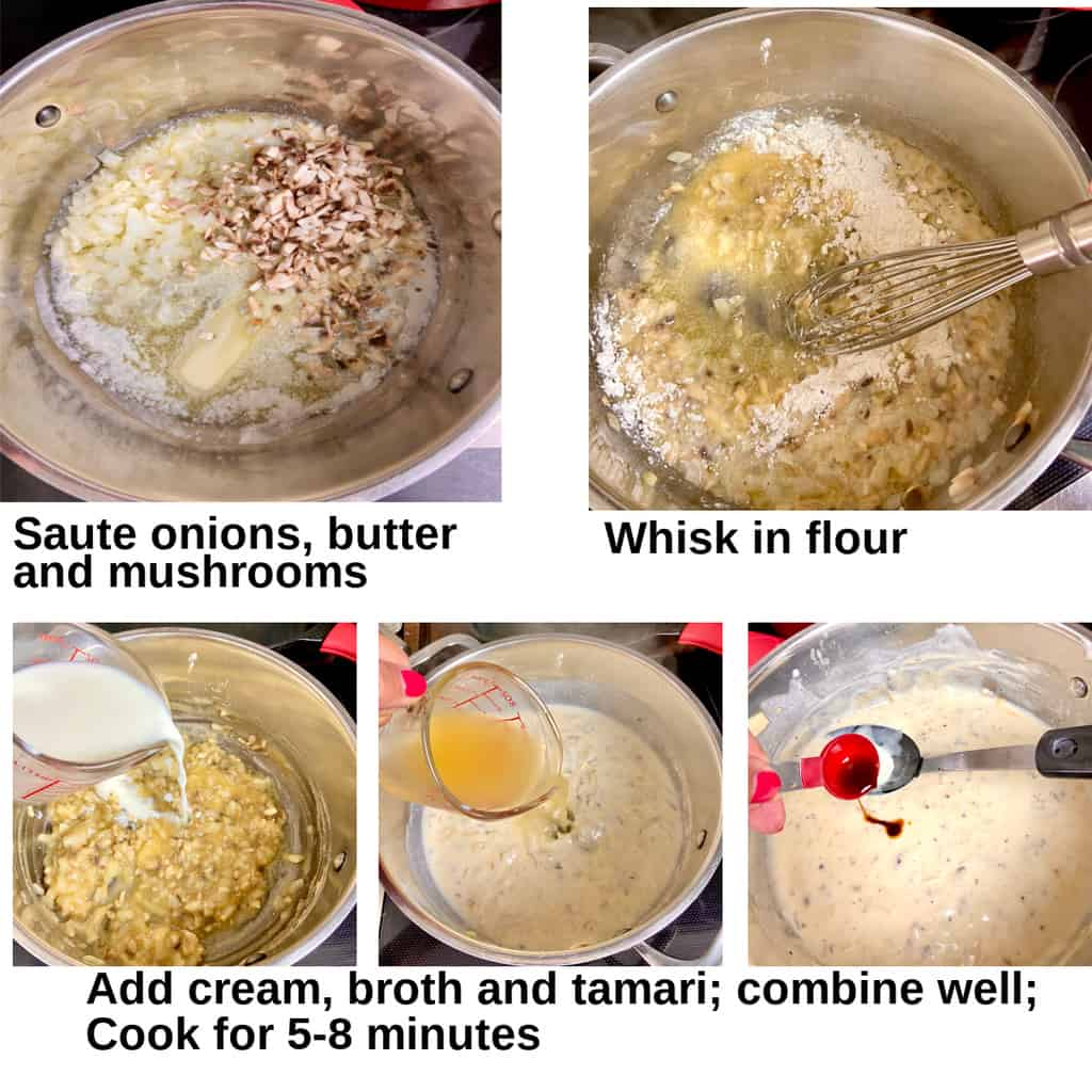Images showing how to make the cream soup.