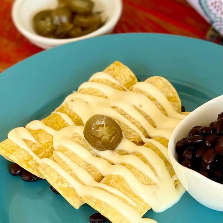 Sour Cream Enchilada sauce on enchiladas.
