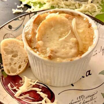 French onion in ramekin.