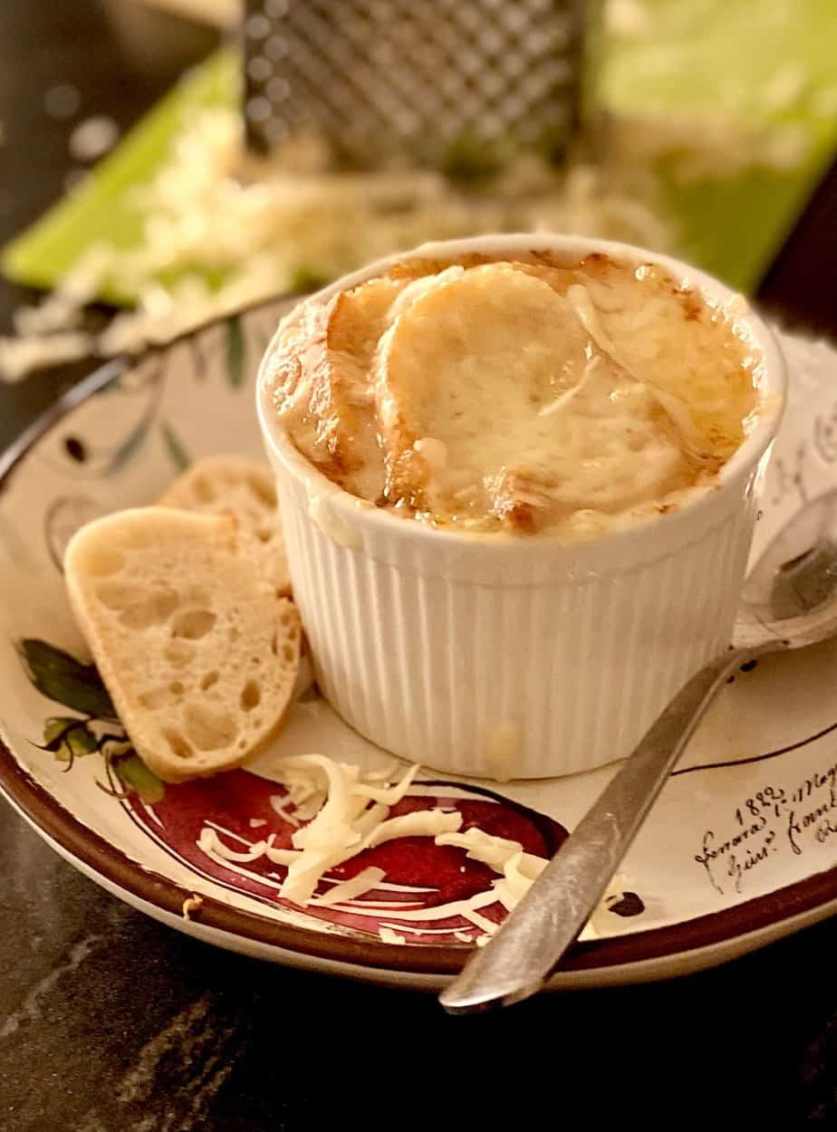 French onion soup in ramekin.