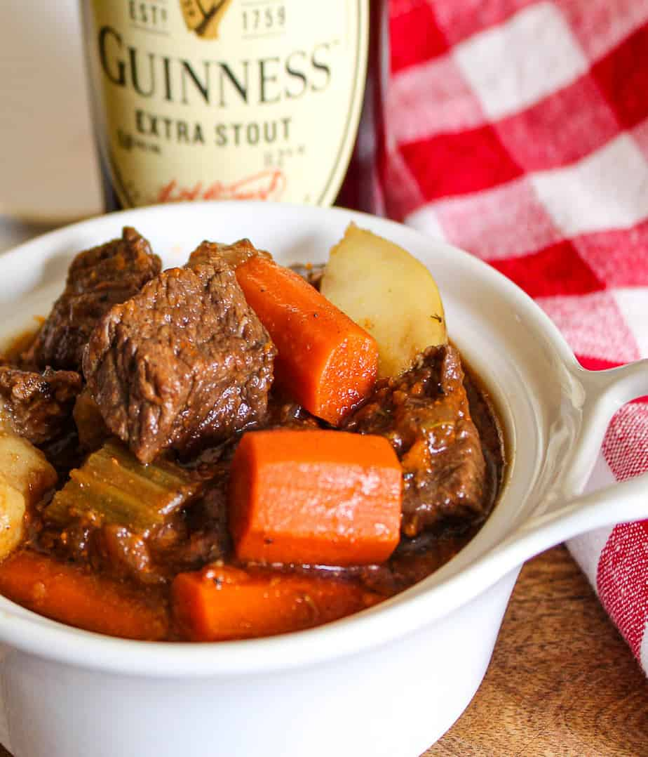 Beef stew in white bowl.
