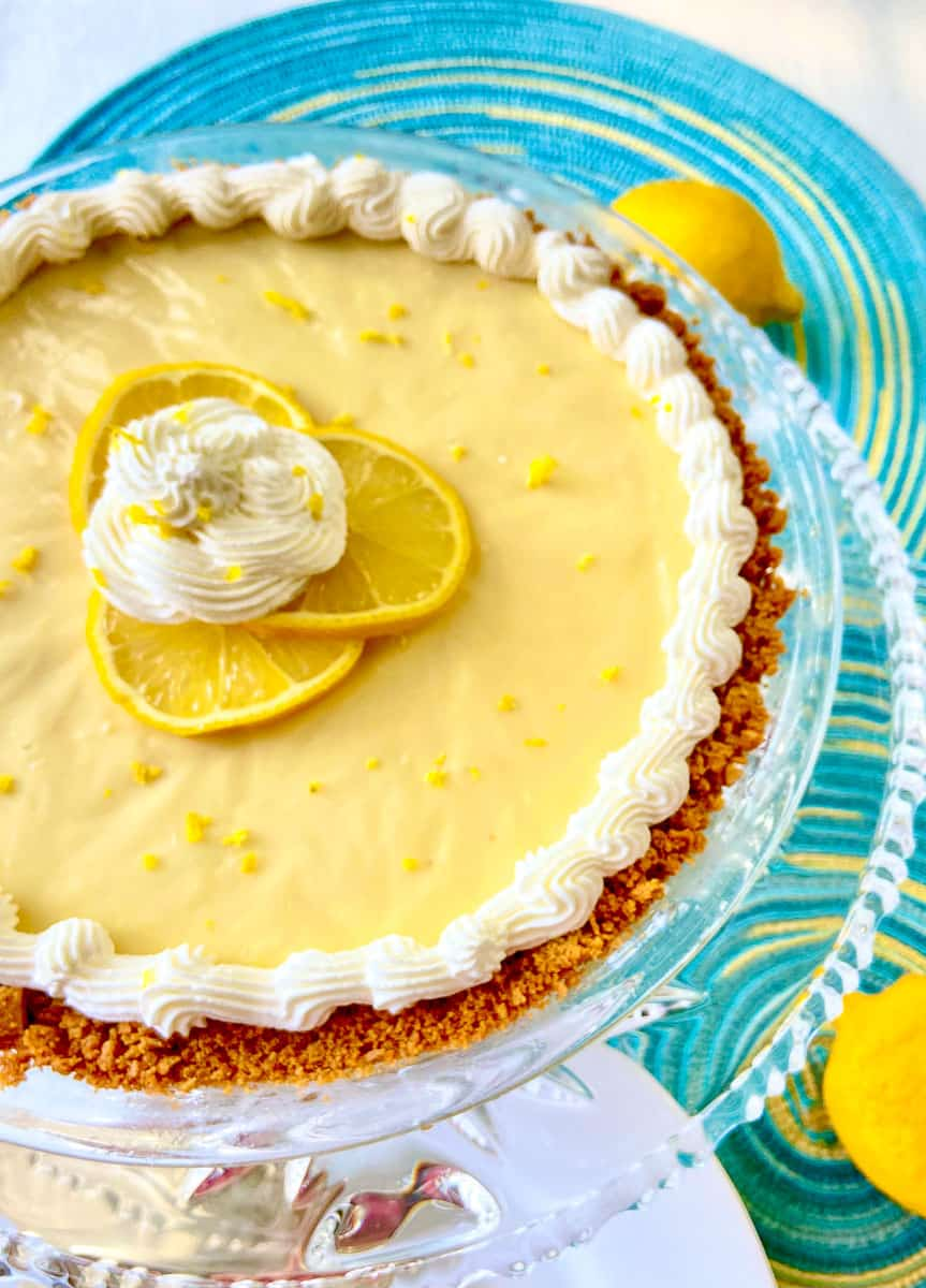 Lemon Icebox pie on crystal platter.