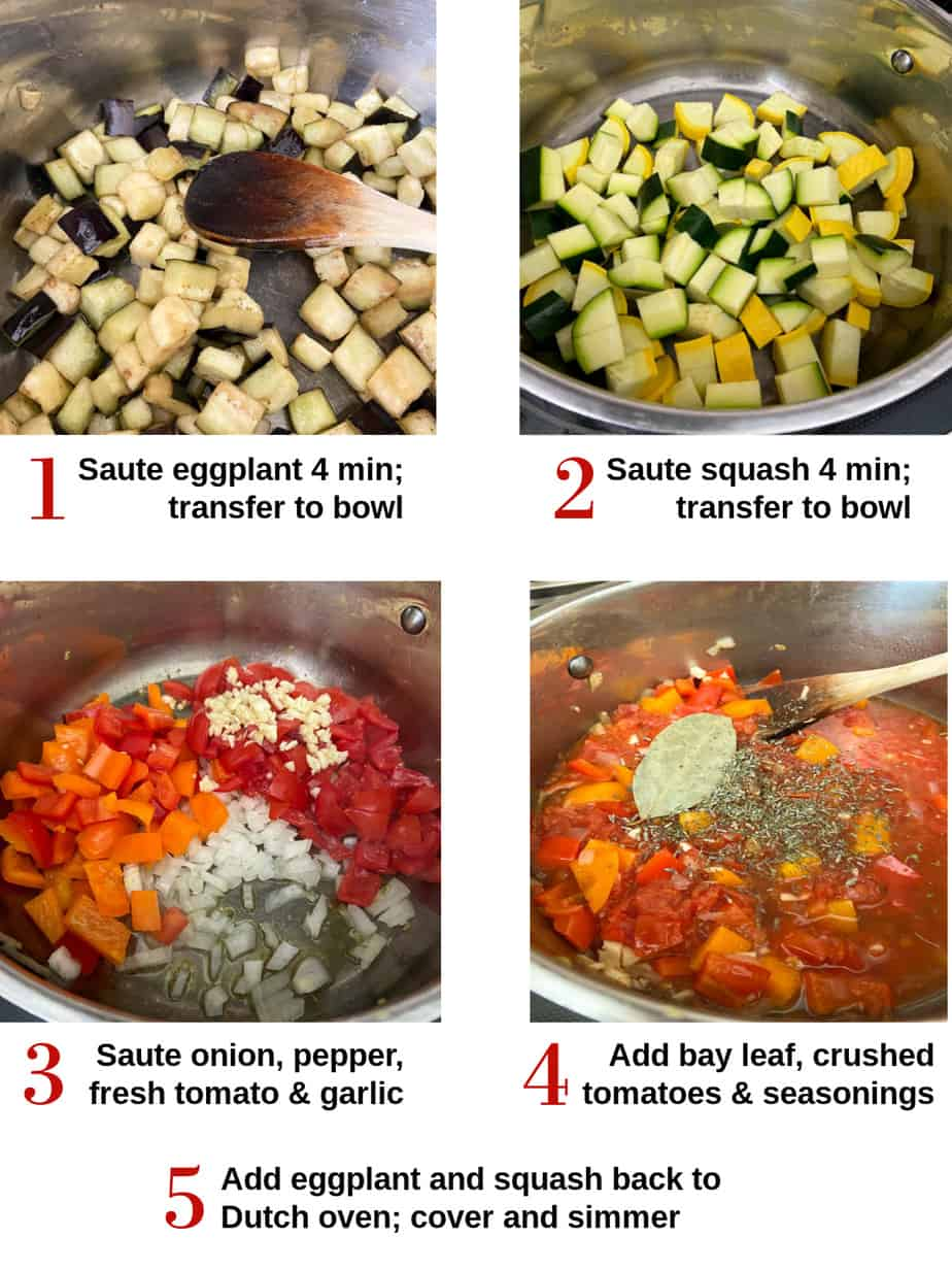 Process shots showing how to make ratatouille.