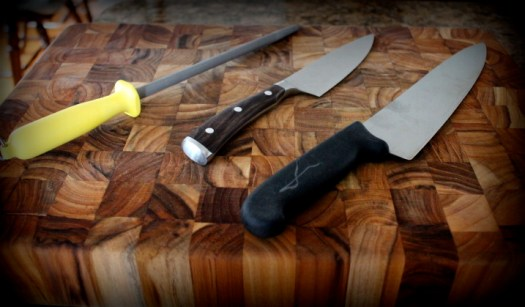 A ceramic sharpening steel is a great tool to have in your kitchen.  An extra huge knife helps in this case too.