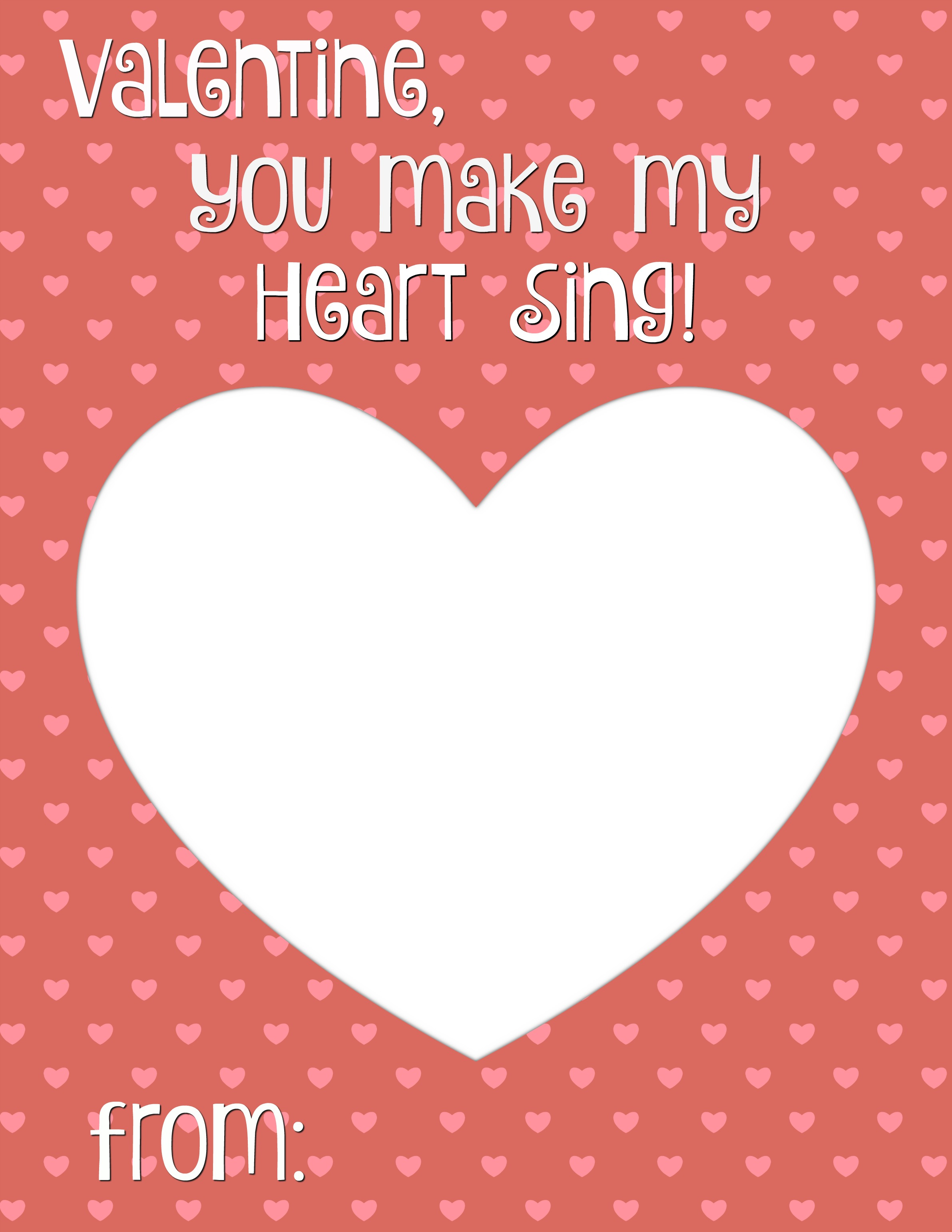 You Make My Heart Sing Valentine Card Printable