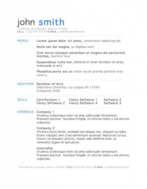 clean one page resume psd template - Single Page Resume Template