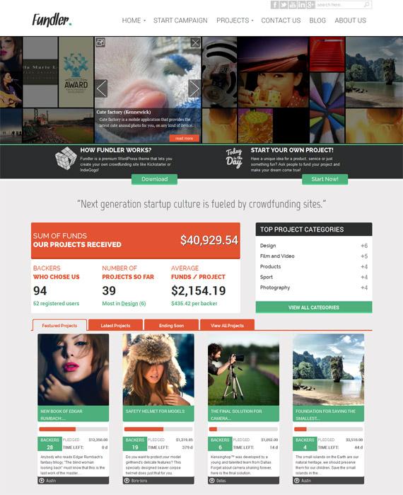 Free WordPress Theme for Crowdfunding Sites : Fundler -